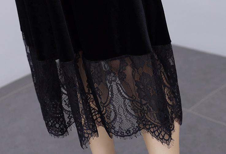 韓国 ファッション ワンピース パーティードレス ロング マキシ 秋 冬 春 パーティー ブライダル PTXI295 結婚式 お呼ばれ スカラップ フリンジレース フェミニン 二次会 セレブ きれいめの写真20枚目