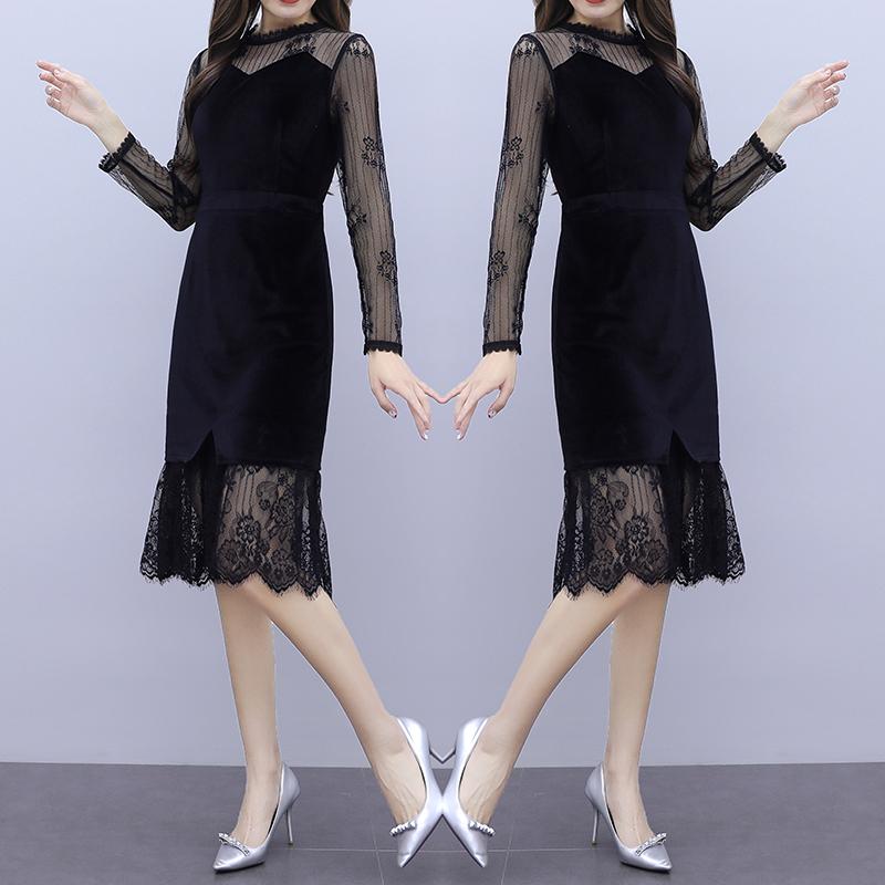 韓国 ファッション ワンピース パーティードレス ひざ丈 ミディアム 夏 春 秋 パーティー ブライダル PTXI296 結婚式 お呼ばれ シースルー レイヤード風 マーメイ 二次会 セレブ きれいめの写真3枚目
