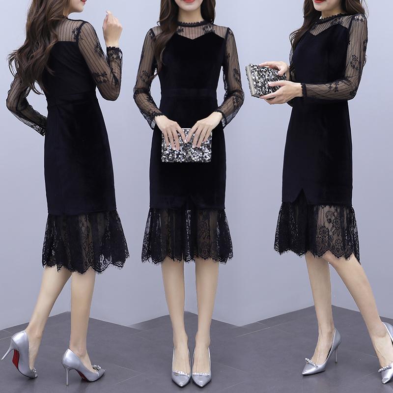 韓国 ファッション ワンピース パーティードレス ひざ丈 ミディアム 夏 春 秋 パーティー ブライダル PTXI296 結婚式 お呼ばれ シースルー レイヤード風 マーメイ 二次会 セレブ きれいめの写真4枚目