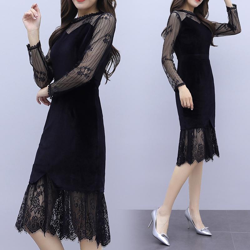 韓国 ファッション ワンピース パーティードレス ひざ丈 ミディアム 夏 春 秋 パーティー ブライダル PTXI296 結婚式 お呼ばれ シースルー レイヤード風 マーメイ 二次会 セレブ きれいめの写真5枚目