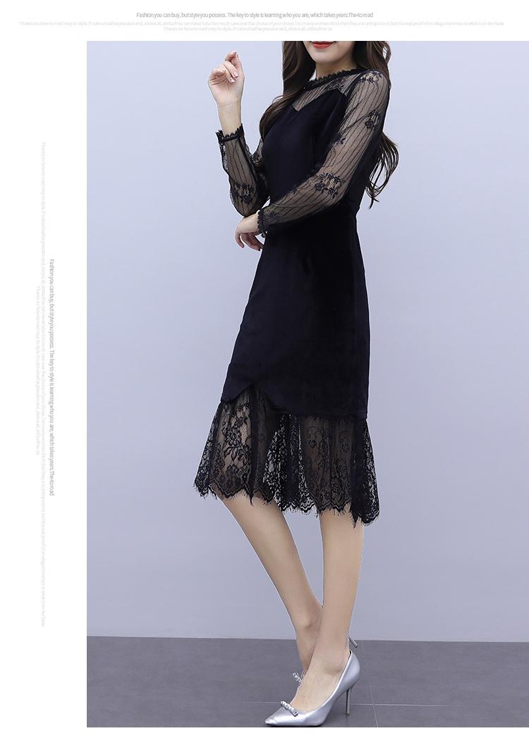 韓国 ファッション ワンピース パーティードレス ひざ丈 ミディアム 夏 春 秋 パーティー ブライダル PTXI296 結婚式 お呼ばれ シースルー レイヤード風 マーメイ 二次会 セレブ きれいめの写真14枚目