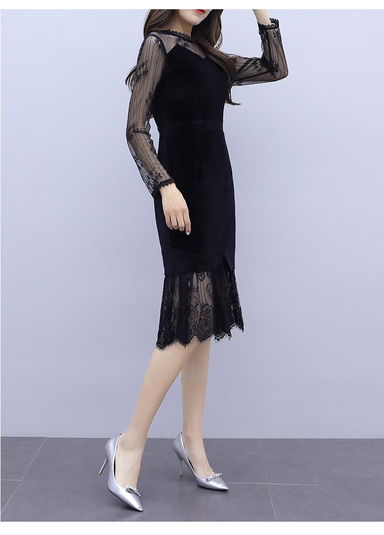 韓国 ファッション ワンピース パーティードレス ひざ丈 ミディアム 夏 春 秋 パーティー ブライダル PTXI296 結婚式 お呼ばれ シースルー レイヤード風 マーメイ 二次会 セレブ きれいめの写真15枚目