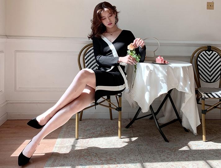 韓国 ファッション ワンピース パーティードレス ひざ丈 ミディアム 秋 冬 春 パーティー ブライダル PTXI298 結婚式 お呼ばれ モノトーン アシンメトリー Vバッ 二次会 セレブ きれいめの写真13枚目