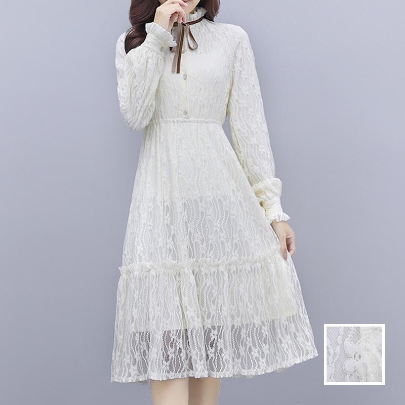 韓国 ファッション ワンピース パーティードレス ひざ丈 ミディアム 夏 春 秋 パーティー ブライダル PTXI299 結婚式 お呼ばれ シースルー スタンドカラー レトロ 二次会 セレブ きれいめの写真1枚目