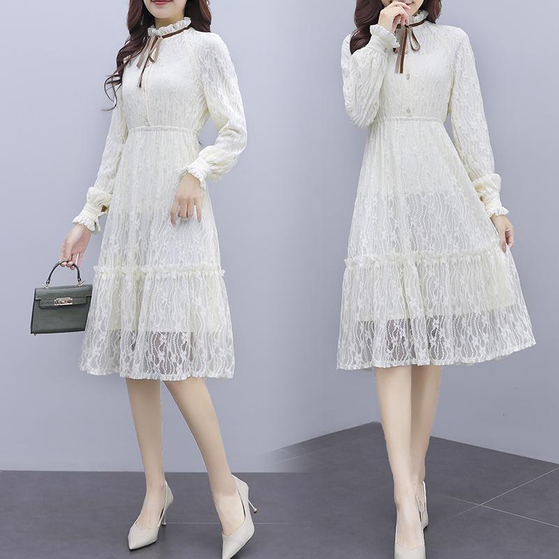 韓国 ファッション ワンピース パーティードレス ひざ丈 ミディアム 夏 春 秋 パーティー ブライダル PTXI299 結婚式 お呼ばれ シースルー スタンドカラー レトロ 二次会 セレブ きれいめの写真2枚目