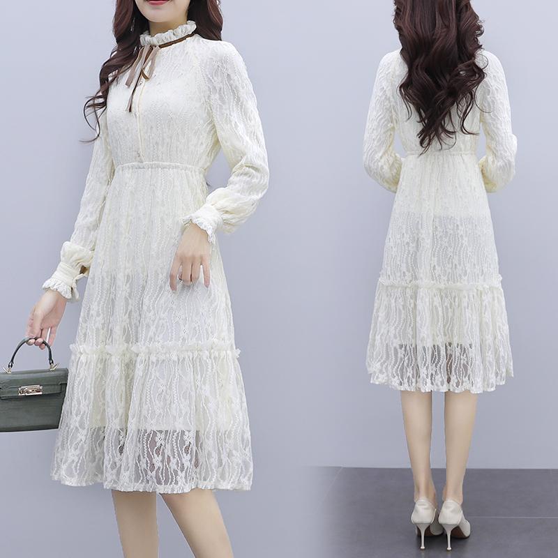 韓国 ファッション ワンピース パーティードレス ひざ丈 ミディアム 夏 春 秋 パーティー ブライダル PTXI299 結婚式 お呼ばれ シースルー スタンドカラー レトロ 二次会 セレブ きれいめの写真3枚目