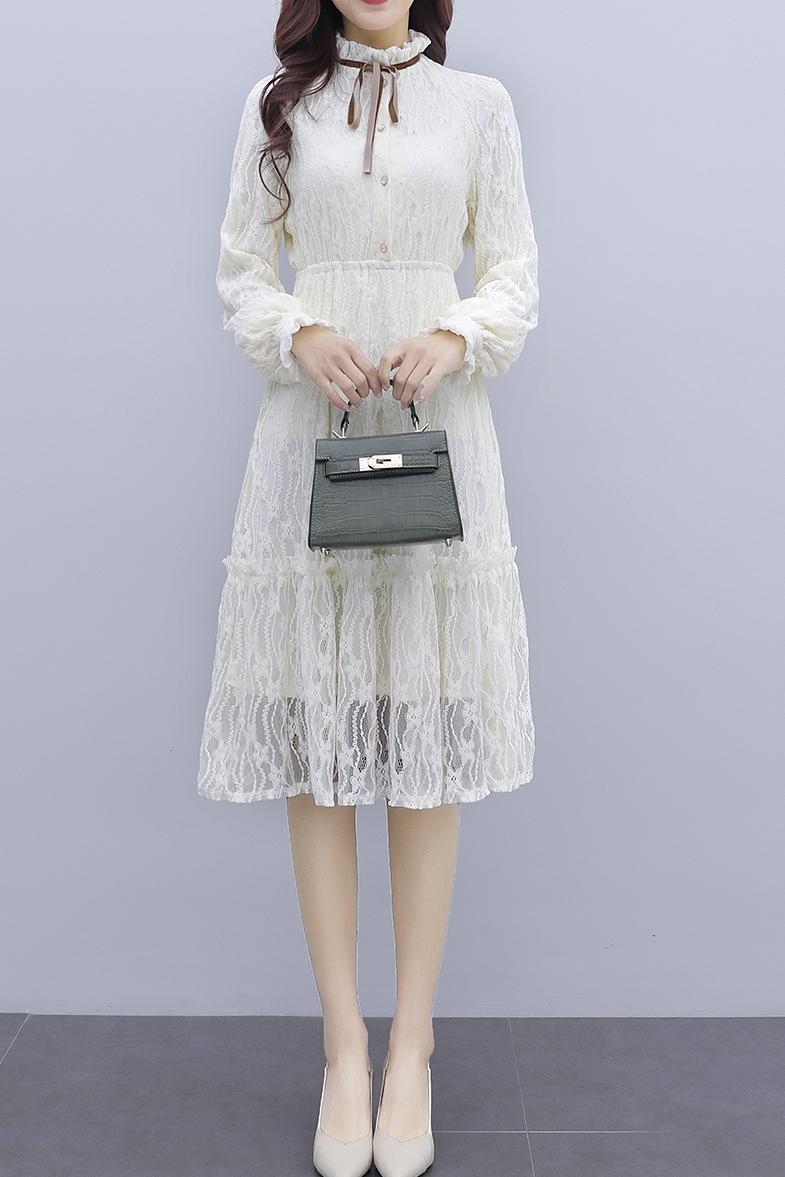 韓国 ファッション ワンピース パーティードレス ひざ丈 ミディアム 夏 春 秋 パーティー ブライダル PTXI299 結婚式 お呼ばれ シースルー スタンドカラー レトロ 二次会 セレブ きれいめの写真5枚目