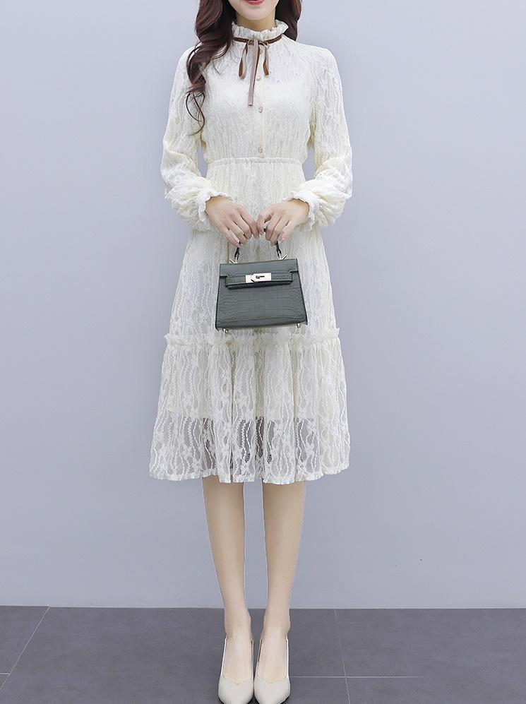 韓国 ファッション ワンピース パーティードレス ひざ丈 ミディアム 夏 春 秋 パーティー ブライダル PTXI299 結婚式 お呼ばれ シースルー スタンドカラー レトロ 二次会 セレブ きれいめの写真8枚目