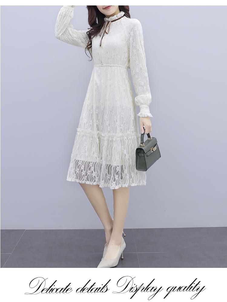 韓国 ファッション ワンピース パーティードレス ひざ丈 ミディアム 夏 春 秋 パーティー ブライダル PTXI299 結婚式 お呼ばれ シースルー スタンドカラー レトロ 二次会 セレブ きれいめの写真10枚目