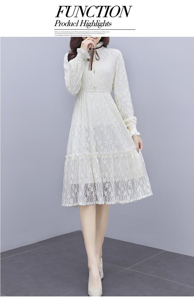 韓国 ファッション ワンピース パーティードレス ひざ丈 ミディアム 夏 春 秋 パーティー ブライダル PTXI299 結婚式 お呼ばれ シースルー スタンドカラー レトロ 二次会 セレブ きれいめの写真12枚目