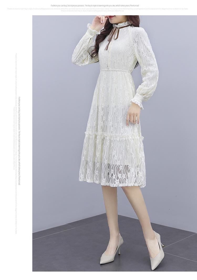 韓国 ファッション ワンピース パーティードレス ひざ丈 ミディアム 夏 春 秋 パーティー ブライダル PTXI299 結婚式 お呼ばれ シースルー スタンドカラー レトロ 二次会 セレブ きれいめの写真13枚目