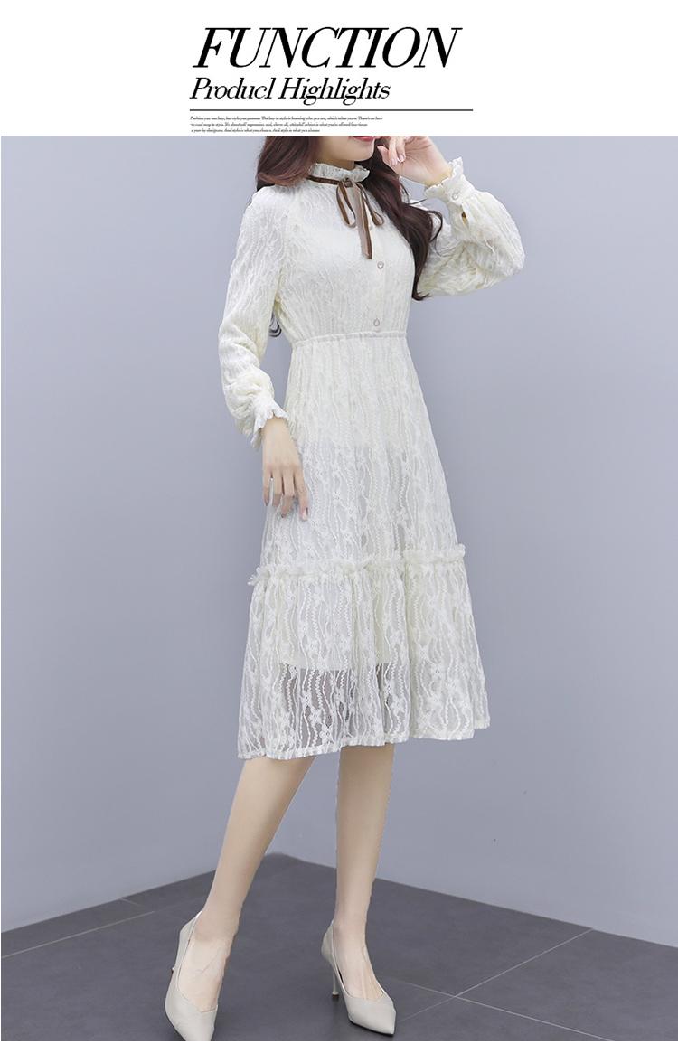 韓国 ファッション ワンピース パーティードレス ひざ丈 ミディアム 夏 春 秋 パーティー ブライダル PTXI299 結婚式 お呼ばれ シースルー スタンドカラー レトロ 二次会 セレブ きれいめの写真15枚目