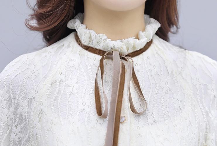 韓国 ファッション ワンピース パーティードレス ひざ丈 ミディアム 夏 春 秋 パーティー ブライダル PTXI299 結婚式 お呼ばれ シースルー スタンドカラー レトロ 二次会 セレブ きれいめの写真16枚目