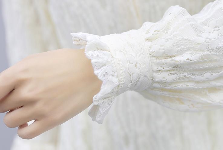 韓国 ファッション ワンピース パーティードレス ひざ丈 ミディアム 夏 春 秋 パーティー ブライダル PTXI299 結婚式 お呼ばれ シースルー スタンドカラー レトロ 二次会 セレブ きれいめの写真17枚目