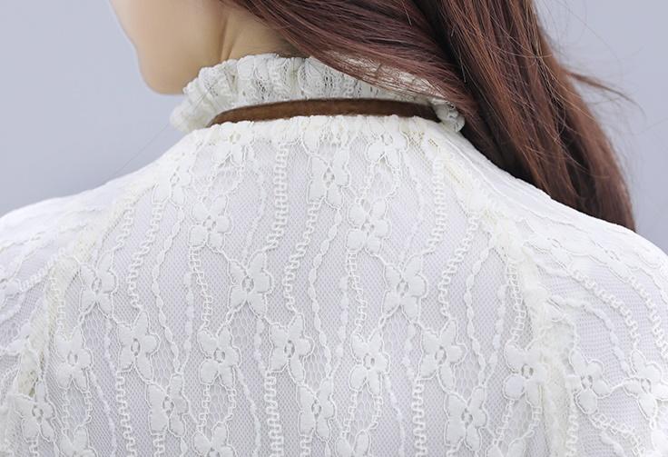 韓国 ファッション ワンピース パーティードレス ひざ丈 ミディアム 夏 春 秋 パーティー ブライダル PTXI299 結婚式 お呼ばれ シースルー スタンドカラー レトロ 二次会 セレブ きれいめの写真18枚目