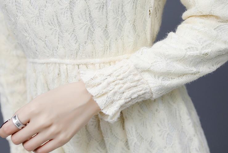 韓国 ファッション ワンピース パーティードレス ひざ丈 ミディアム 夏 春 秋 パーティー ブライダル PTXI300 結婚式 お呼ばれ シースルー ハイネック オールレー 二次会 セレブ きれいめの写真18枚目
