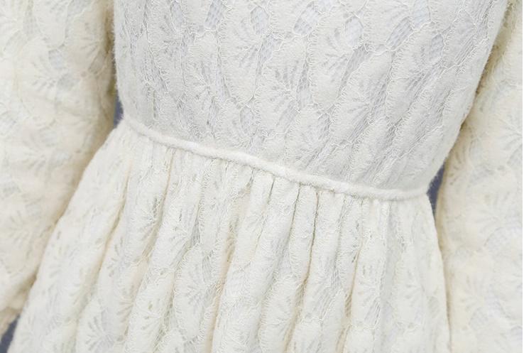 韓国 ファッション ワンピース パーティードレス ひざ丈 ミディアム 夏 春 秋 パーティー ブライダル PTXI300 結婚式 お呼ばれ シースルー ハイネック オールレー 二次会 セレブ きれいめの写真19枚目