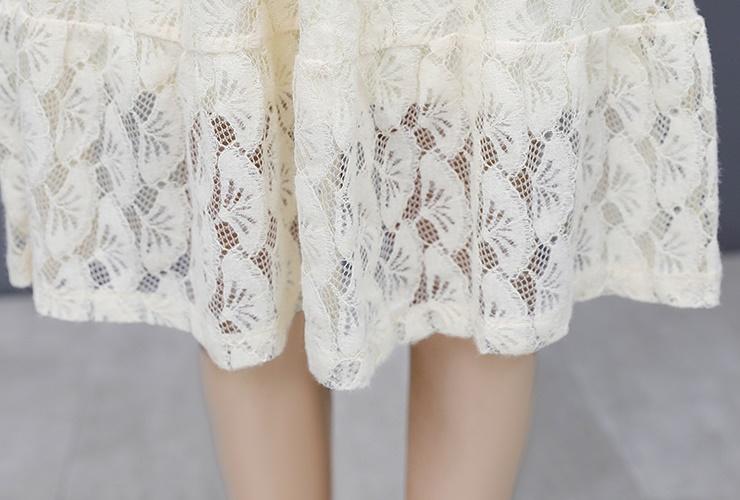 韓国 ファッション ワンピース パーティードレス ひざ丈 ミディアム 夏 春 秋 パーティー ブライダル PTXI300 結婚式 お呼ばれ シースルー ハイネック オールレー 二次会 セレブ きれいめの写真20枚目