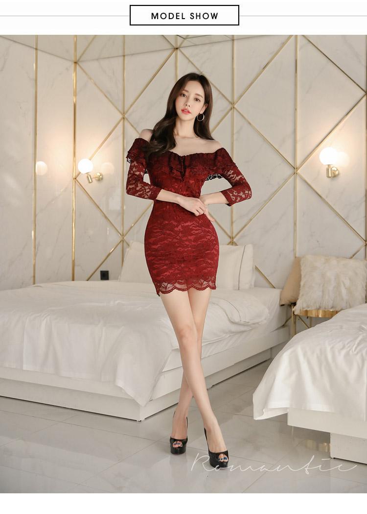 韓国 ファッション ワンピース パーティードレス ショート ミニ丈 夏 春 秋 パーティー ブライダル PTXI312 結婚式 お呼ばれ シースルー オフショルダー風 オール 二次会 セレブ きれいめの写真6枚目