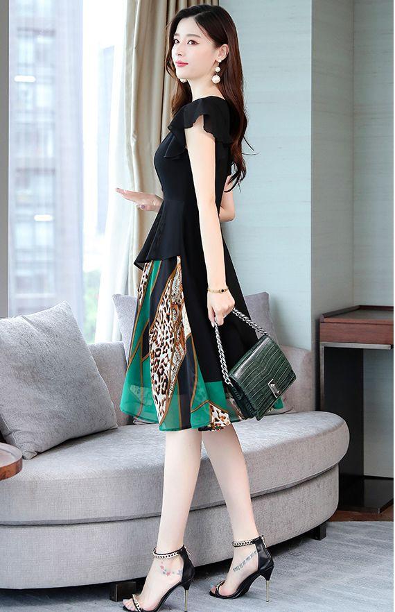 韓国 ファッション ワンピース パーティードレス ひざ丈 ミディアム 春 夏 パーティー ブライダル PTXI342 結婚式 お呼ばれ シアー シフォン風 スカーフ柄 フェミ 二次会 セレブ きれいめの写真5枚目
