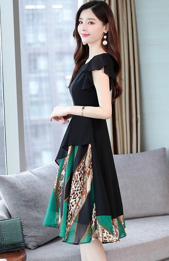 韓国 ファッション ワンピース パーティードレス ひざ丈 ミディアム 春 夏 パーティー ブライダル PTXI342 結婚式 お呼ばれ シアー シフォン風 スカーフ柄 フェミ 二次会 セレブ きれいめの写真9枚目