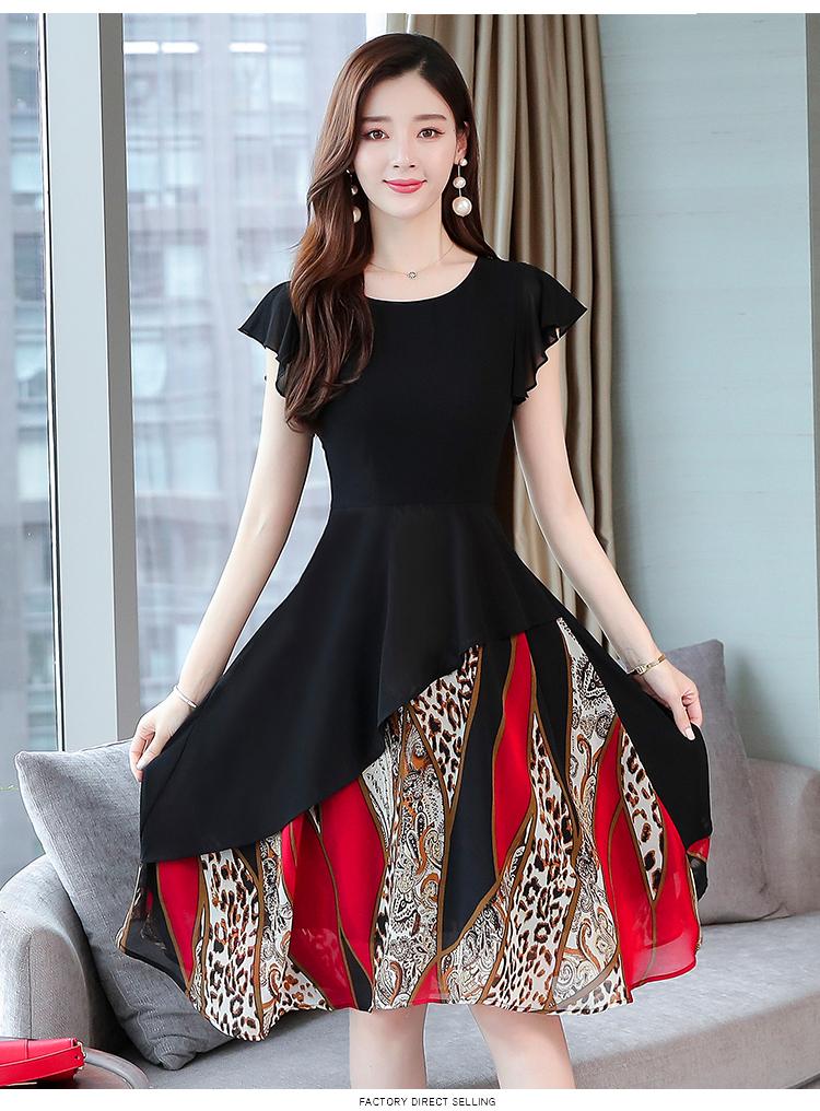 韓国 ファッション ワンピース パーティードレス ひざ丈 ミディアム 春 夏 パーティー ブライダル PTXI342 結婚式 お呼ばれ シアー シフォン風 スカーフ柄 フェミ 二次会 セレブ きれいめの写真13枚目