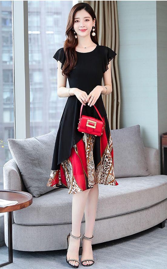韓国 ファッション ワンピース パーティードレス ひざ丈 ミディアム 夏 春 パーティー ブライダル PTXI342 結婚式 お呼ばれ シアー シフォン風 スカーフ柄 フェミ 二次会 セレブ きれいめの写真16枚目