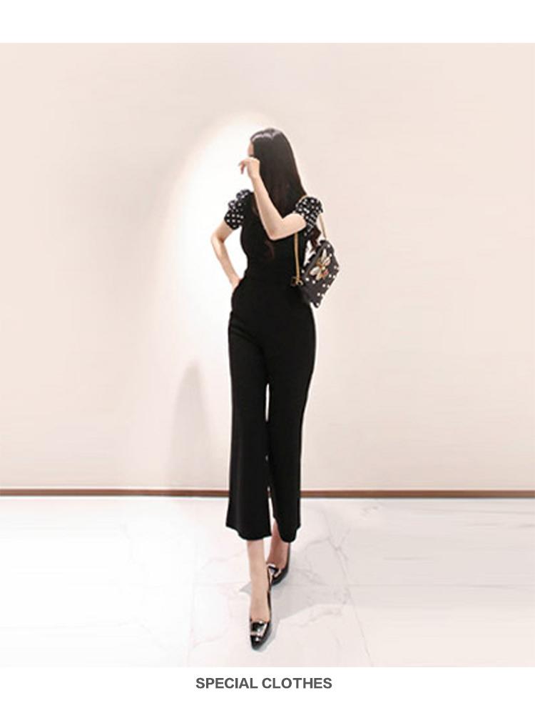 韓国 ファッション オールインワン サロペット 春 夏 秋 パーティー ブライダル PTXI352  ハイウエスト パフスリーブ アシンメトリー 二次会 セレブ きれいめの写真2枚目