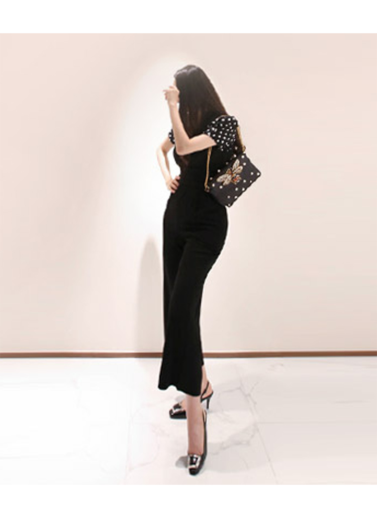 韓国 ファッション オールインワン サロペット 春 夏 秋 パーティー ブライダル PTXI352  ハイウエスト パフスリーブ アシンメトリー 二次会 セレブ きれいめの写真5枚目