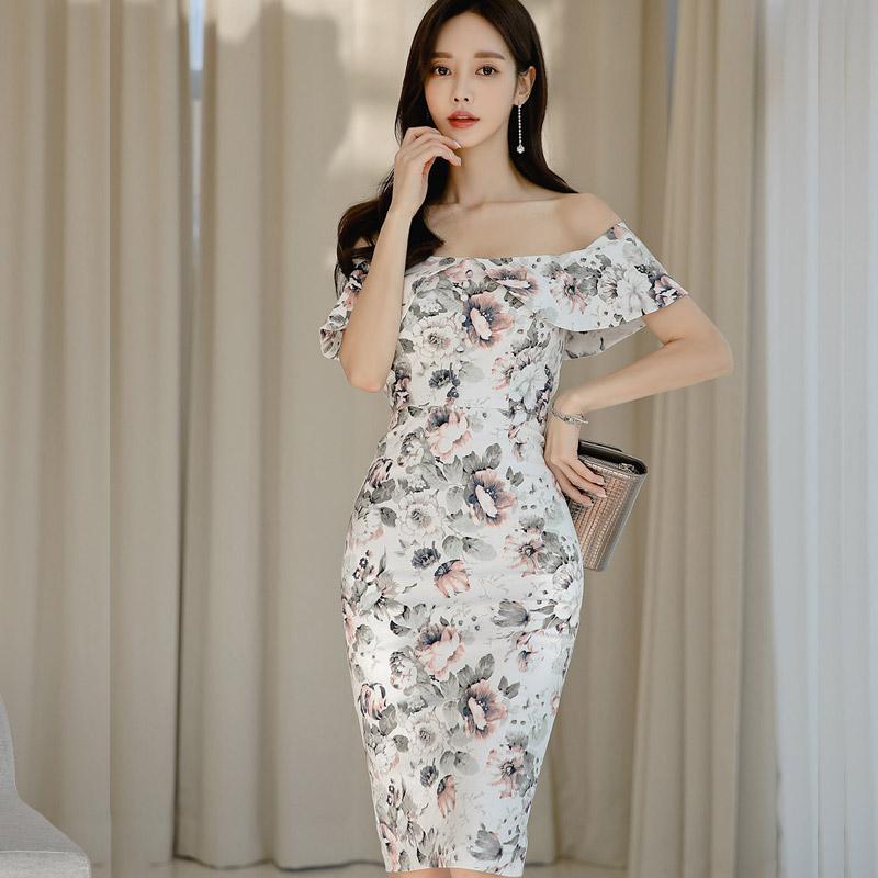 韓国 ファッション ワンピース パーティードレス ひざ丈 ミディアム 夏 春 パーティー ブライダル PTXI355 結婚式 お呼ばれ オフショルダー 渋色 シック フレアト 二次会 セレブ きれいめの写真2枚目