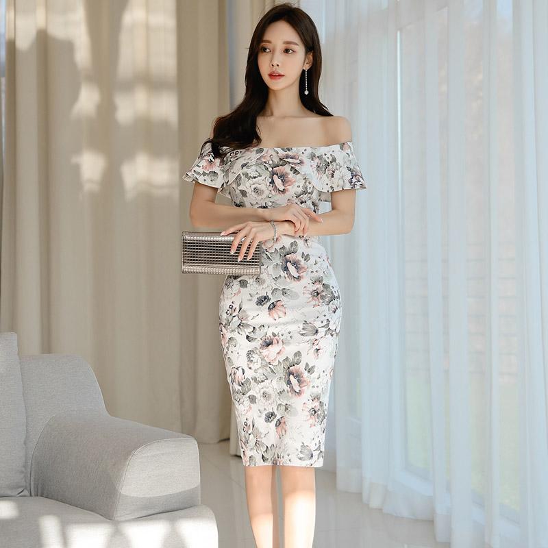 韓国 ファッション ワンピース パーティードレス ひざ丈 ミディアム 夏 春 パーティー ブライダル PTXI355 結婚式 お呼ばれ オフショルダー 渋色 シック フレアト 二次会 セレブ きれいめの写真3枚目