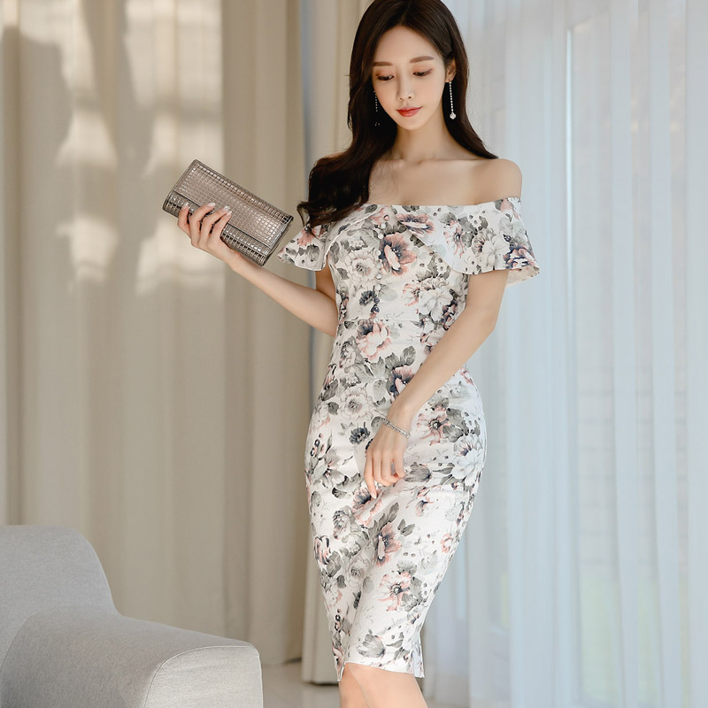 韓国 ファッション ワンピース パーティードレス ひざ丈 ミディアム 夏 春 パーティー ブライダル PTXI355 結婚式 お呼ばれ オフショルダー 渋色 シック フレアト 二次会 セレブ きれいめの写真6枚目