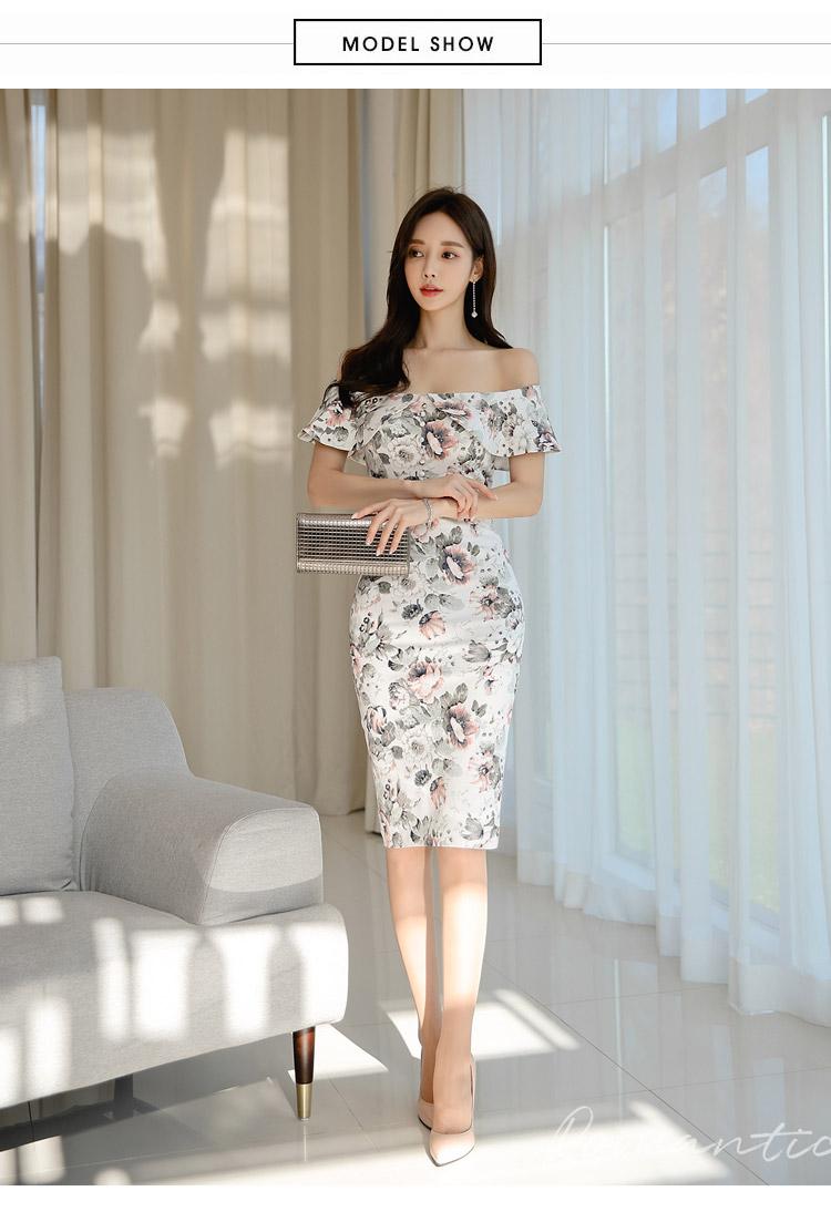韓国 ファッション ワンピース パーティードレス ひざ丈 ミディアム 夏 春 パーティー ブライダル PTXI355 結婚式 お呼ばれ オフショルダー 渋色 シック フレアト 二次会 セレブ きれいめの写真7枚目
