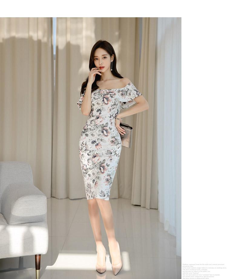 韓国 ファッション ワンピース パーティードレス ひざ丈 ミディアム 夏 春 パーティー ブライダル PTXI355 結婚式 お呼ばれ オフショルダー 渋色 シック フレアト 二次会 セレブ きれいめの写真9枚目