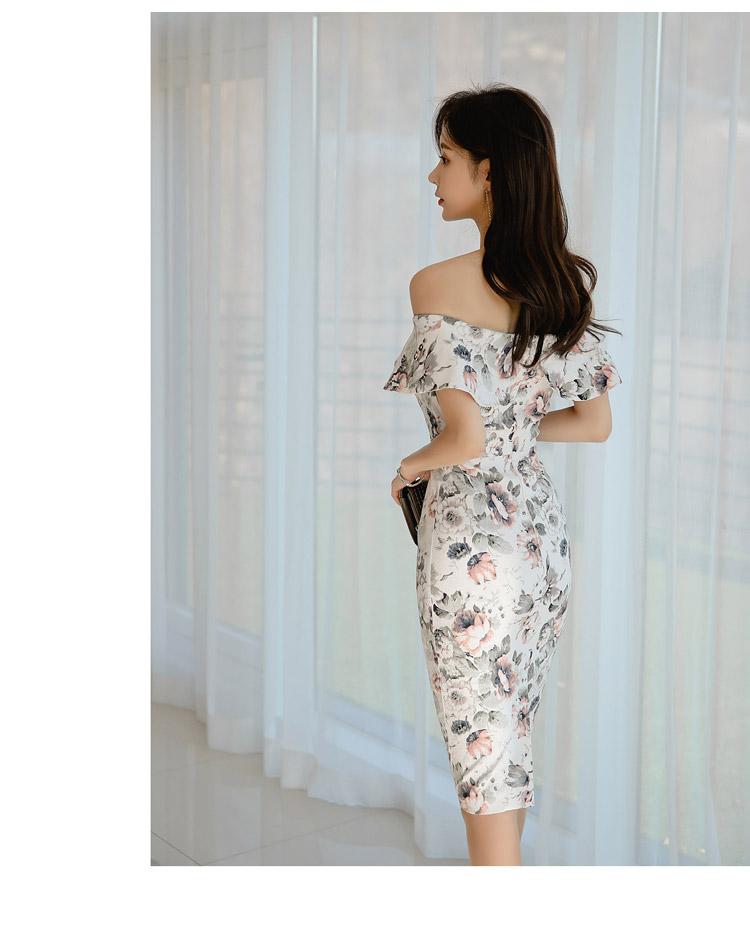 韓国 ファッション ワンピース パーティードレス ひざ丈 ミディアム 夏 春 パーティー ブライダル PTXI355 結婚式 お呼ばれ オフショルダー 渋色 シック フレアト 二次会 セレブ きれいめの写真10枚目
