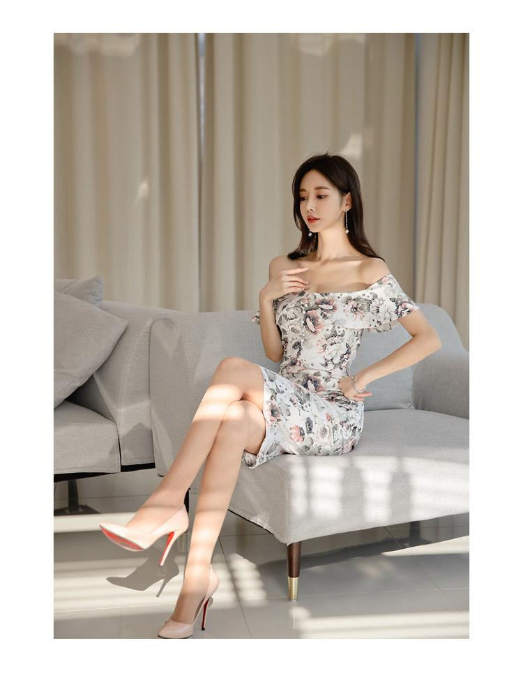 韓国 ファッション ワンピース パーティードレス ひざ丈 ミディアム 夏 春 パーティー ブライダル PTXI355 結婚式 お呼ばれ オフショルダー 渋色 シック フレアト 二次会 セレブ きれいめの写真13枚目