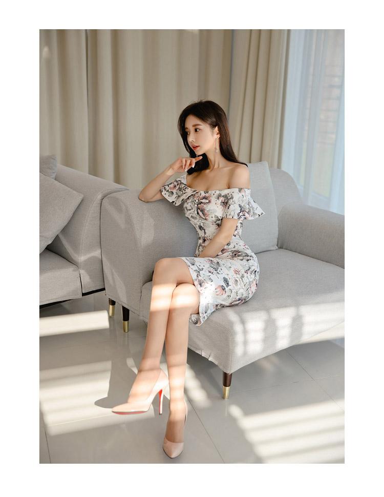 韓国 ファッション ワンピース パーティードレス ひざ丈 ミディアム 夏 春 パーティー ブライダル PTXI355 結婚式 お呼ばれ オフショルダー 渋色 シック フレアト 二次会 セレブ きれいめの写真14枚目