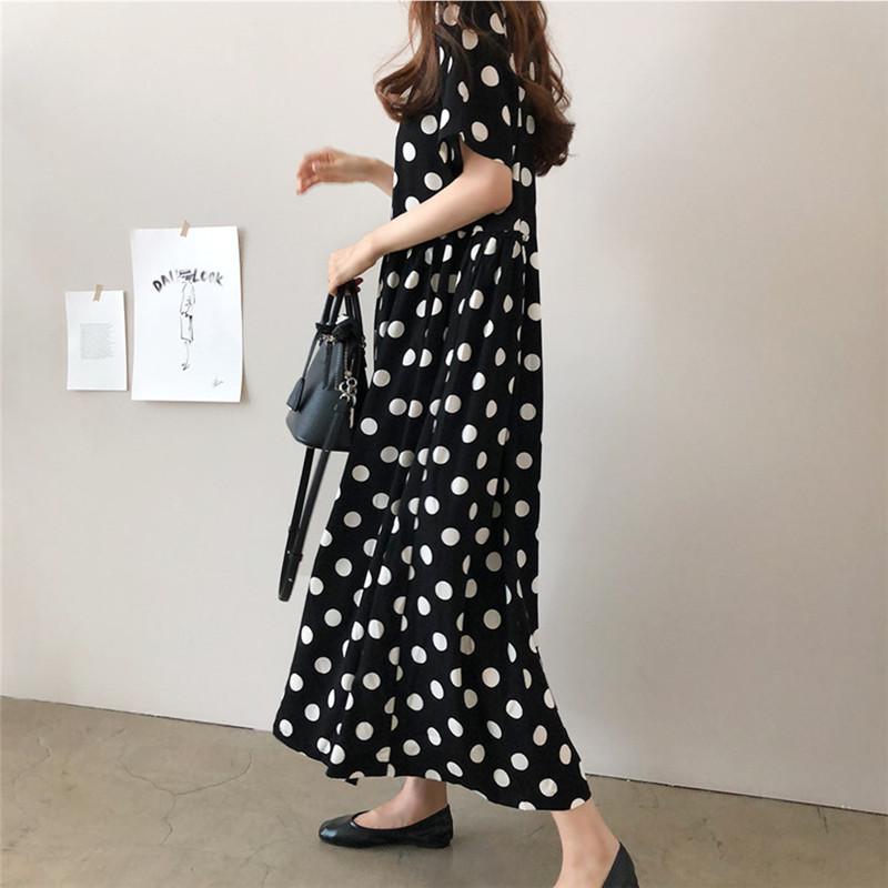 韓国 ファッション ワンピース 春 夏 秋 カジュアル PTXI378  ゆったり リラクシー ギャザー Aライン オルチャン シンプル 定番 セレカジの写真4枚目