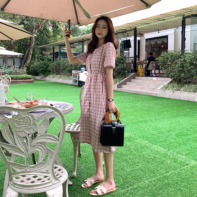 韓国 ファッション ワンピース 夏 春 カジュアル PTXI391  くすみカラー チェック パフスリーブ ゆったり オルチャン シンプル 定番 セレカジの写真2枚目