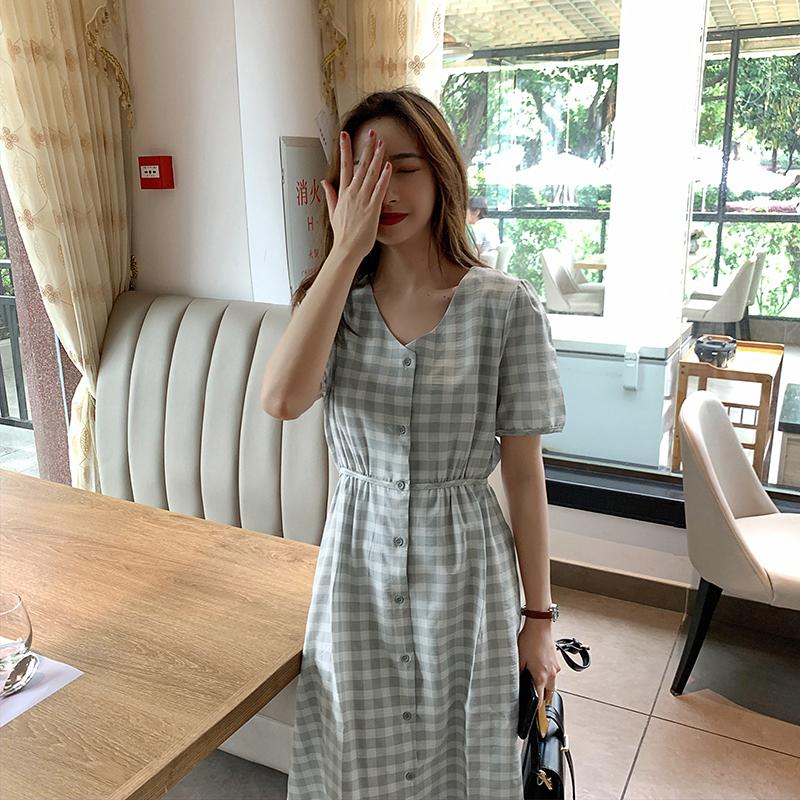 韓国 ファッション ワンピース 夏 春 カジュアル PTXI391  くすみカラー チェック パフスリーブ ゆったり オルチャン シンプル 定番 セレカジの写真4枚目