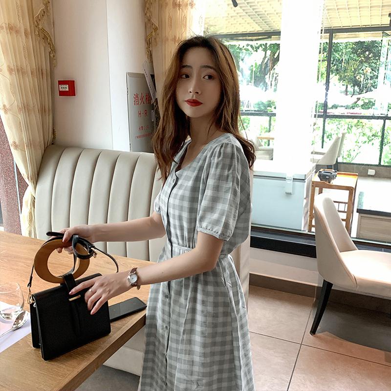韓国 ファッション ワンピース 夏 春 カジュアル PTXI391  くすみカラー チェック パフスリーブ ゆったり オルチャン シンプル 定番 セレカジの写真5枚目