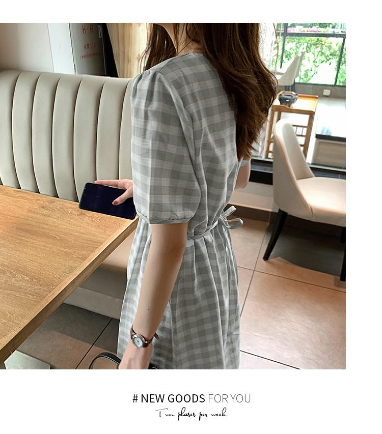 韓国 ファッション ワンピース 夏 春 カジュアル PTXI391  くすみカラー チェック パフスリーブ ゆったり オルチャン シンプル 定番 セレカジの写真6枚目