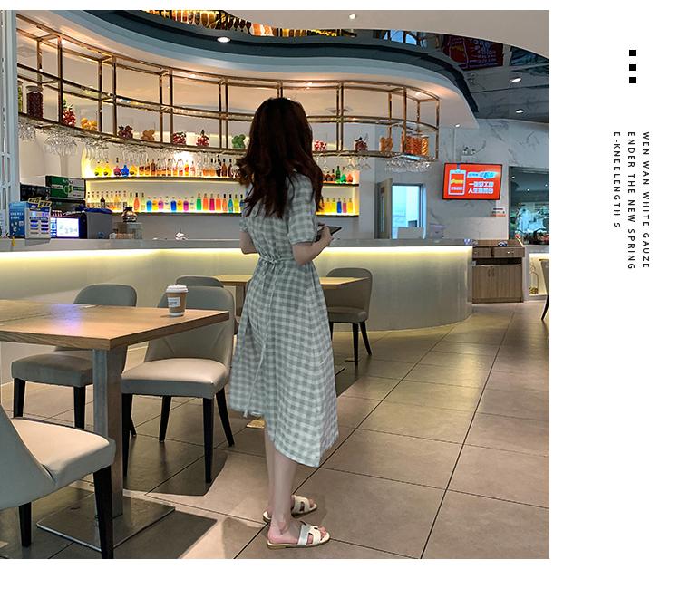 韓国 ファッション ワンピース 夏 春 カジュアル PTXI391  くすみカラー チェック パフスリーブ ゆったり オルチャン シンプル 定番 セレカジの写真7枚目