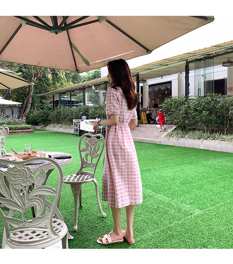 韓国 ファッション ワンピース 夏 春 カジュアル PTXI391  くすみカラー チェック パフスリーブ ゆったり オルチャン シンプル 定番 セレカジの写真9枚目