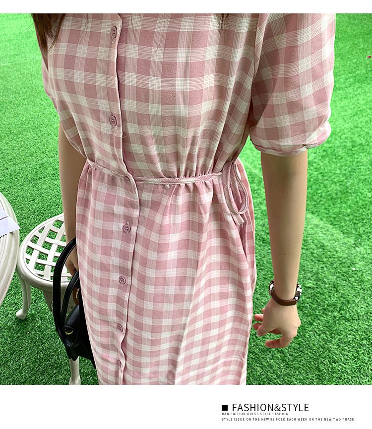 韓国 ファッション ワンピース 夏 春 カジュアル PTXI391  くすみカラー チェック パフスリーブ ゆったり オルチャン シンプル 定番 セレカジの写真11枚目
