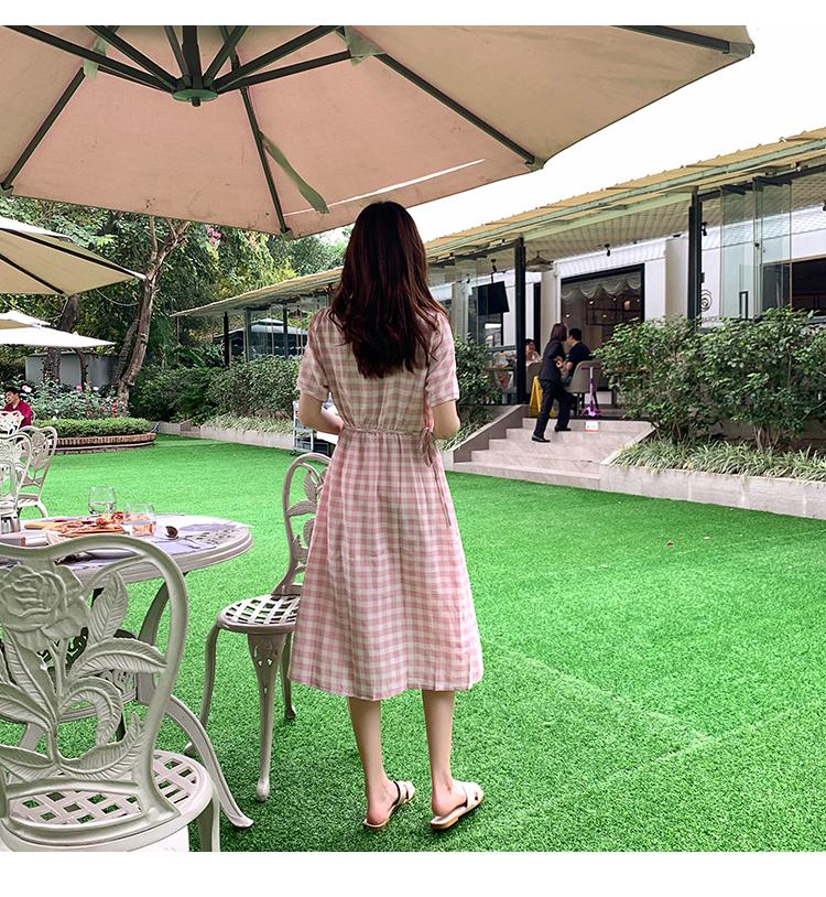 韓国 ファッション ワンピース 夏 春 カジュアル PTXI391  くすみカラー チェック パフスリーブ ゆったり オルチャン シンプル 定番 セレカジの写真12枚目