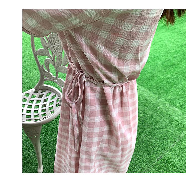 韓国 ファッション ワンピース 夏 春 カジュアル PTXI391  くすみカラー チェック パフスリーブ ゆったり オルチャン シンプル 定番 セレカジの写真14枚目