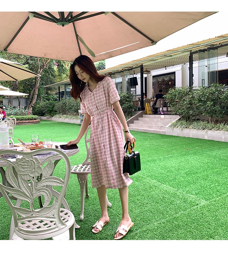 韓国 ファッション ワンピース 夏 春 カジュアル PTXI391  くすみカラー チェック パフスリーブ ゆったり オルチャン シンプル 定番 セレカジの写真15枚目