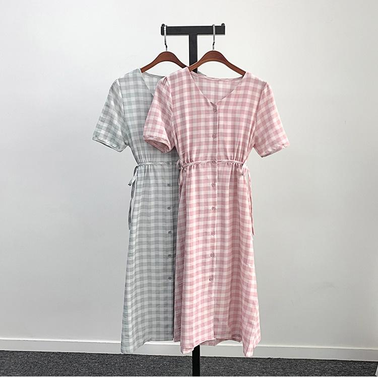 韓国 ファッション ワンピース 夏 春 カジュアル PTXI391  くすみカラー チェック パフスリーブ ゆったり オルチャン シンプル 定番 セレカジの写真16枚目
