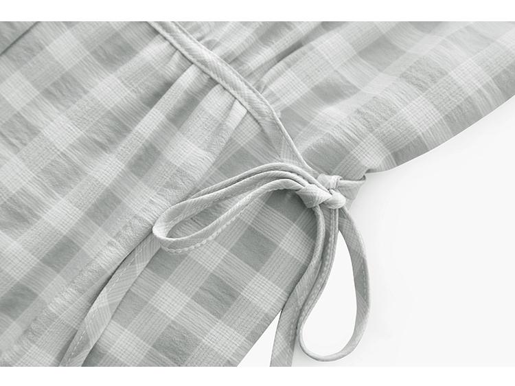 韓国 ファッション ワンピース 夏 春 カジュアル PTXI391  くすみカラー チェック パフスリーブ ゆったり オルチャン シンプル 定番 セレカジの写真18枚目